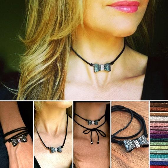 Bohemian Necklace Jewelry Necklace Rhinestone Bow Choker Leather Vegan Suede Necklace Silver Crystal Diamond CZ Choker Party Jewelry