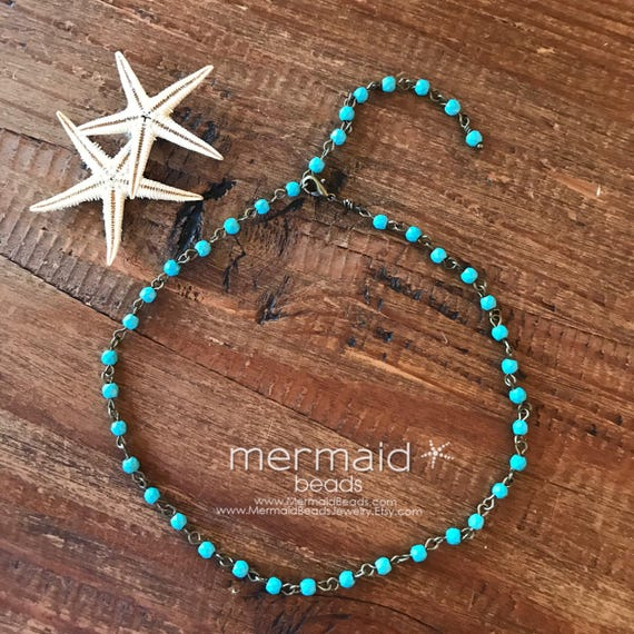 Boho Jewelry Turquoise Choker Necklace Mothers Day Gift Beaded Bridal Pearl Choker Rosary Beach Weddings Bridesmaids necklaces Gift for Her