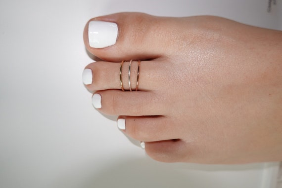 Toe Ring Tiny Thin Stacking Toe Rings Sterling Silver Gold Filled Rose Gold Filled Stack Rings Tri-Color Ring Set Midi Ring Knuckle Ring