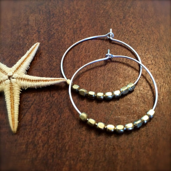 Two Tone Gold Silver Hoop Earrings Beaded Pierced Thin Hoop Earring Gift for Her Beach Wedding Bridal Bridesmaid Gift for Her Mothers Day