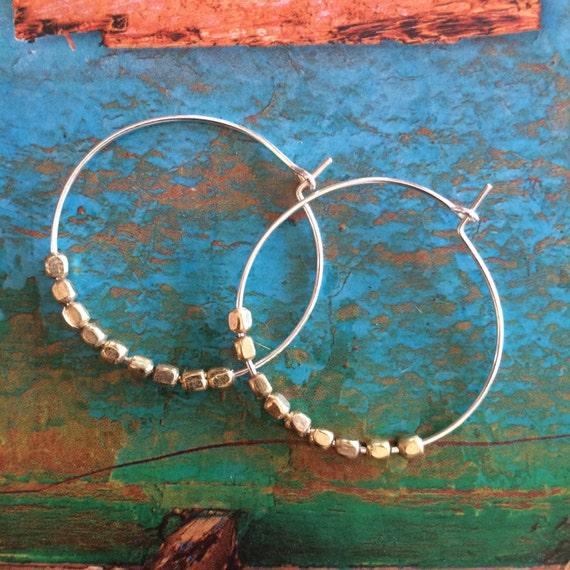 Two Tone Hoop Earrings Thin Hoops Beaded Silver Pierced Hoops Bridal Bridesmaid Gift Bohemian Earrings Medium Small Hoops Boho Weddings Gift