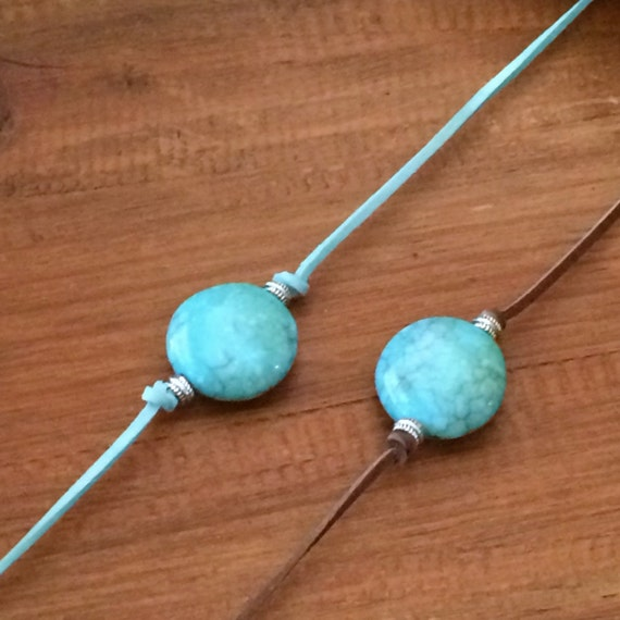 Turquoise Choker Necklace Leather Vegan Suede Choker Boho Gypsy Hippie Silver Adjustable Beach Beaded Turquoise Layering Necklace Gift