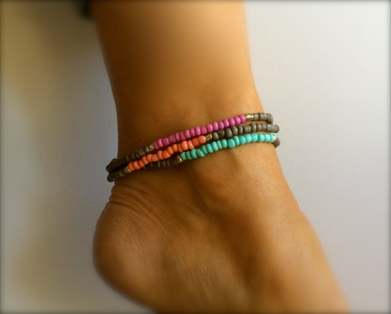 Boho Turquoise Anklet  Ankle Bracelet Pride Gift Pink Coral Stretch Stacking Bracelet Arm Band Beach Surfer Bridesmaid Friendship