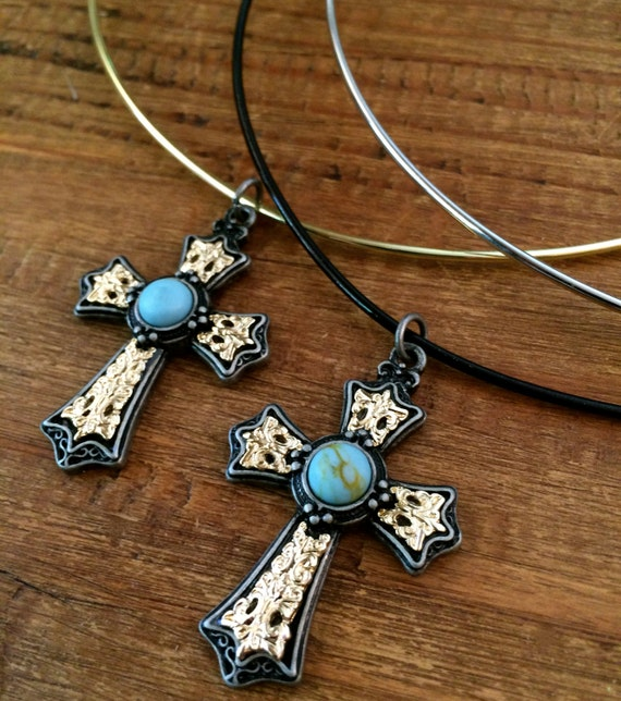 Turquoise Choker Cross Choker Gold Choker Silver Wire Choker Necklace Blue Choker Statement Necklace Boho Jewelry Gifts for Her Under 20
