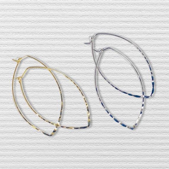 Hoop Earrings Large Geometric Hoops Thin Delicate Silver Gold  Oval Leaf Shaped Pierced Earrings Long Drop Bohemian Earrings Summer Jewelry