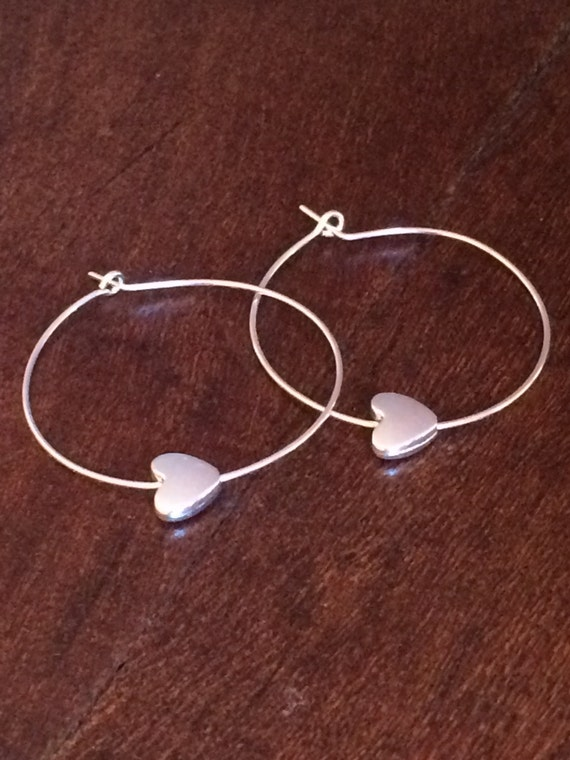 Hoop Earrings Thin Silver Hoop Earring Heart Charm Heart Earring Bridesmaids Jewelry Gifts for Her Under 20 Girlfriend Unique Gift Ideas Her
