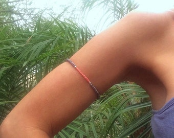 Silver Coral Grey Beaded Stretch Arm Band Convertible to Anklet Ankle Bracelet Stacking Bracelet Boho Beach Body Jewelry Gifts Under 20 Yoga