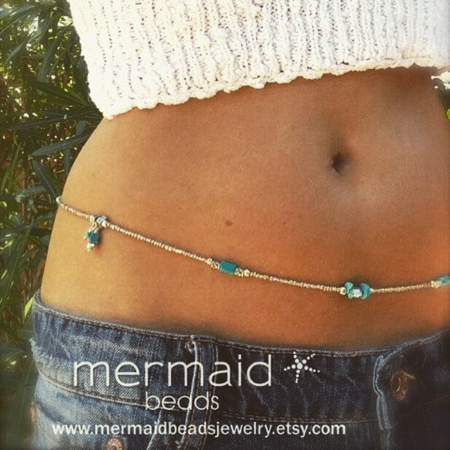 61ee2b1b52 Waist Beads Turquoise Belly Chain Silver Adjustable Body Jewelry Boho Bikini  Beach Beaded Stretch Anklet Wrap Bracelet Beaded Necklace Gifts
