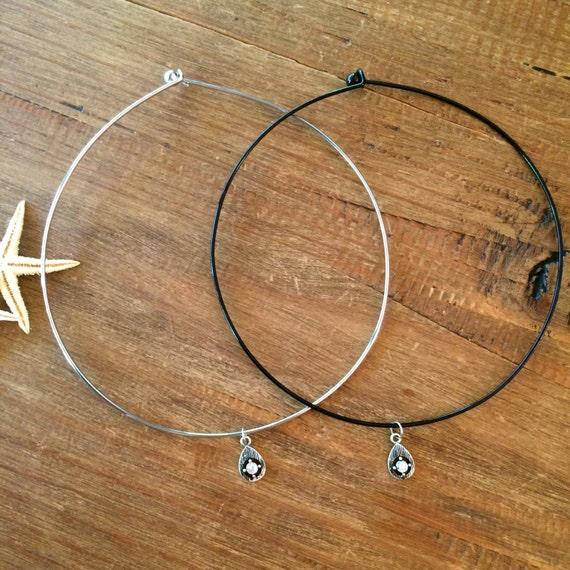 Black Choker Silver Diamond CZ Teardrop Wire Choker Crystal Necklace Beaded Choker Silver Black Statement Necklace Boho Jewelry Tiny Simple