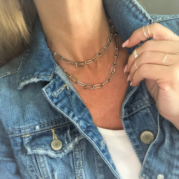 Silver Paperclip Chain Necklace Chunky Gold Chain Bracelet Anklet Gold Silver Rose Gold Large Link Chain Summer Jewelry