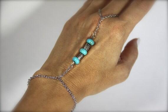 Turquoise Slave Bracelet Silver Hand Bracelet Boho Bracelet Beach Inspired Blue Ring Bracelet Beaded Friendship Gifts for Her Gifts Under 20