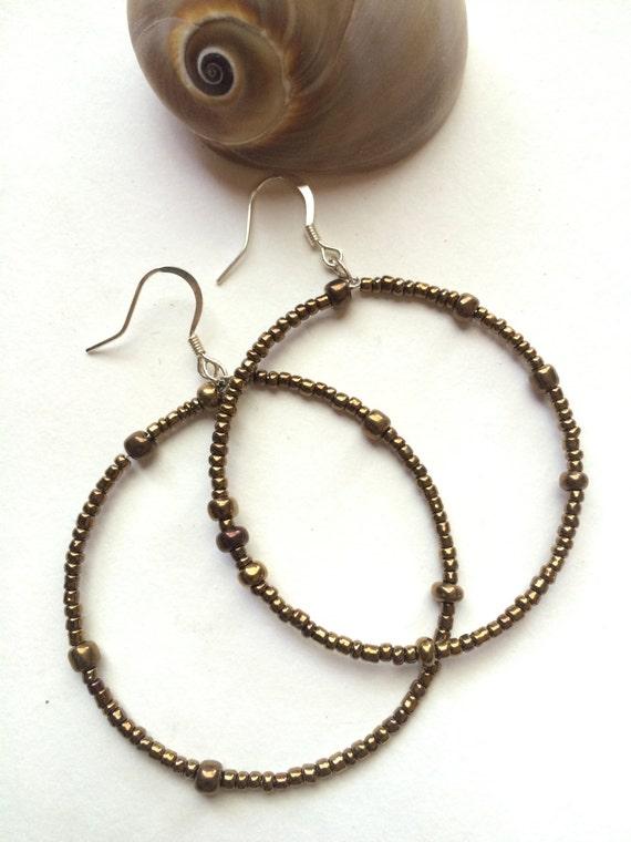 Statement Earrings Dangle Drop Hoop Pierced Earrings Bronze Beaded Summer Party Back to School Large Hoops Gift Woman Boho Festival Jewelry