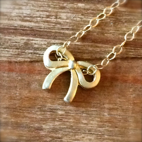 Gold Bow Pendant Necklace Layering Necklace Delicate Tiny Ribbon Bridal Bridesmaid Jewelry Mothers Day Sister Easter Gift for her 14k Filled