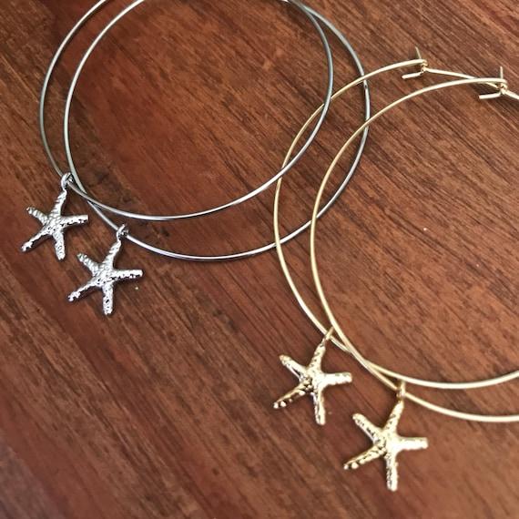 Hoop Earrings Thin Silver Gold Hoop Earring Starfish Pineapple Shell International Showcase Boho Beach Pierced Earring Bridesmaids Jewelry