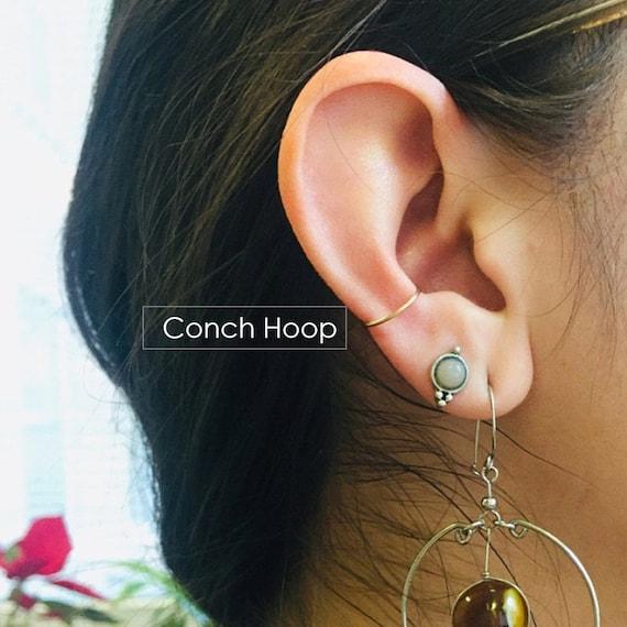 Conch Hoop Earring Snug Orbital 10mm 11mm 12mm 13mm Gold Silver Rose Gold Hoop Piercing 14mm 15mm 16mm 18g 20g 22g