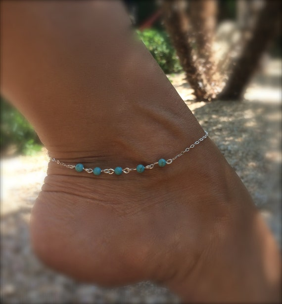 Turquoise Anklet Sterling Silver Chain Ankle Bracelet Boho Anklet Something Blue Beach Wedding Bridal Anklet Body Jewelry Friendship Gift