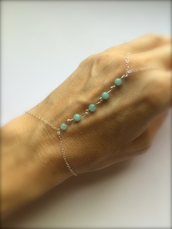 Mint Green Slave Bracelet Sterling Silver Hand Bracelet Pink Beads Bridesmaid Bracelet Gift Bridal Wedding Jewelry Friendship Boho Beach Zen