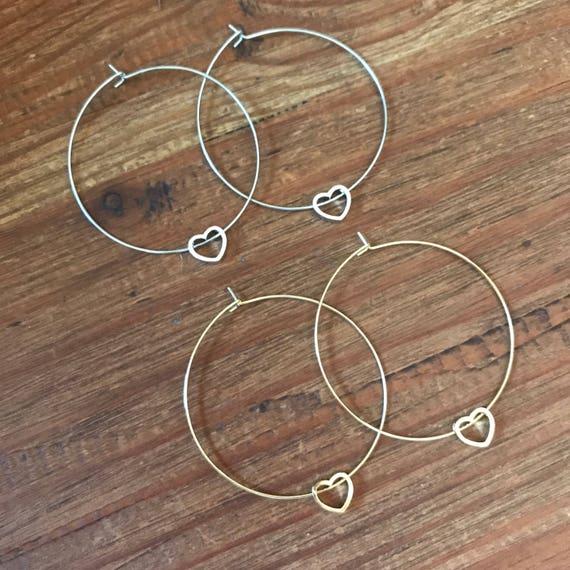 Heart Hoop Earrings Bridal Thin Silver Gold Hoop Earring Heart Charm Boho Pierced Earring Bridesmaids Jewelry Delicate Hoop Love Jewelry