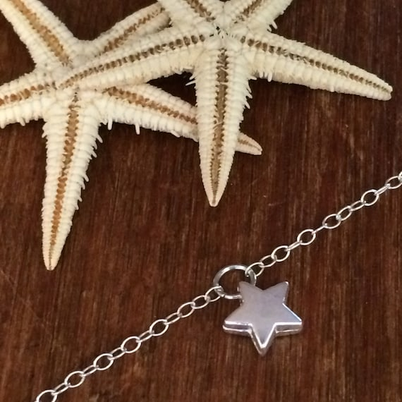 Sterling Silver Bracelet Silver Star Bracelet Silver Chain Minimalist Bridal Gift for Her Bridesmaid Delicate Anklet Layering Boho Holiday