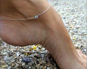 Diamond Anklet Sterling Silver Crystal Anklet CZ Solitaire Anklet Silver Ankle Bracelet Bridal Anklet Gold Anklet Gifts for Her Bridesmaids