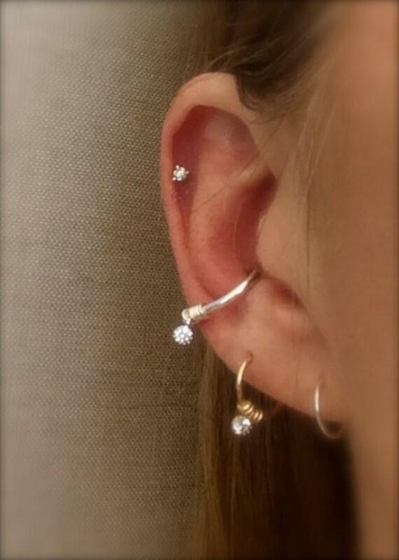 Hoop Earring Conch Hoop Cartilage Earrings Septum Ring Diamond Crystal CZ Endless Hoop Helix Nose Lip Rook Orbit Daith Piercing Gold Silver