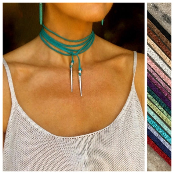 Turquoise Choker Necklace Leather Necklace Custom Color Wrap Leather Vegan Suede Tie Spike Pride Gift Woman Prom Long Boho Necklace Gift