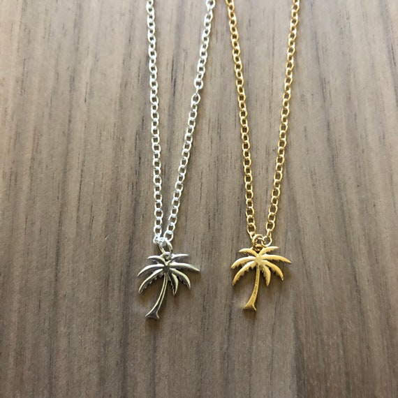 Gold Palm Tree Anklet Pendant Necklace Silver Beach Choker Necklace Coconut Tree Earrings Tropical Beach Wedding Bridesmaids Gifts