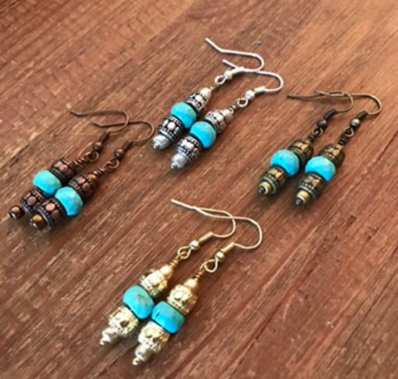 Turquoise Earrings Boho Gypsy Hippie Silver Gold Turquoise Earrings Gift for Her Gifts Under 20 Howlite Copper Bronze Dangle Drop Pierced