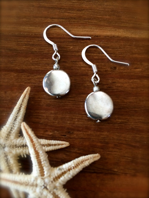 Silver Earring Silver Disc Dangle Drop Pierced Earring Sterling Silver Circle Earring Every Day Casual Gifts for Her Gifts Under 20 Simple