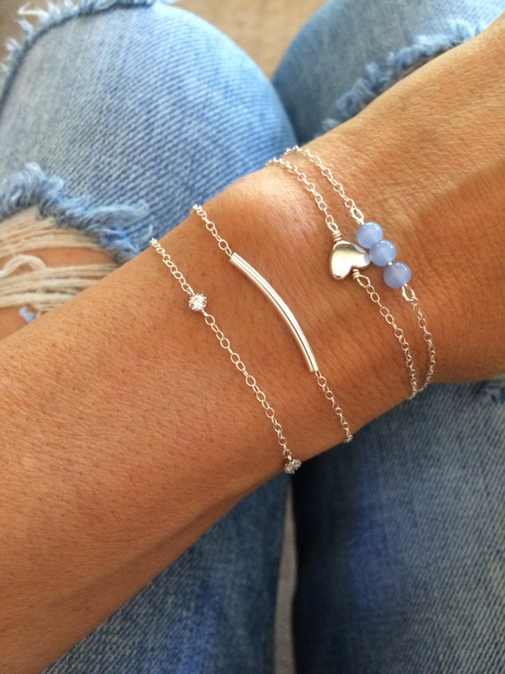 Sterling Silver Bracelet Set Beaded Bracelet Stack Anklet Set Blue Bead Valentine Gift Chain Bridal Something Blue Gift for Her Bridesmaid