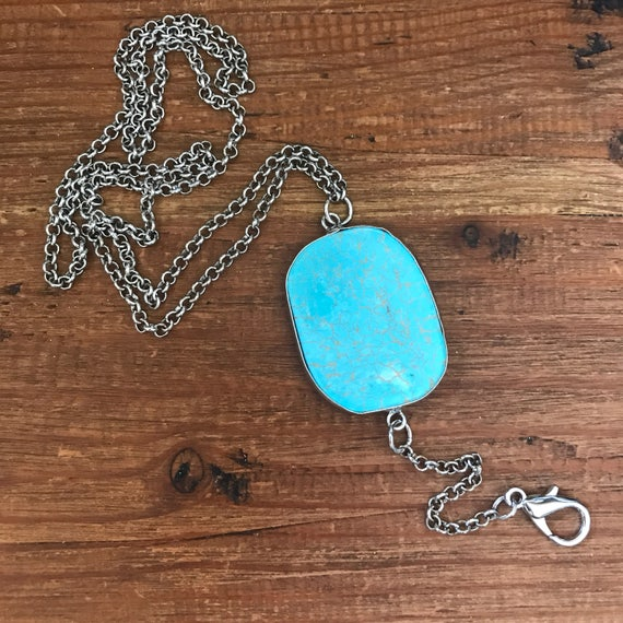 Turquoise Lanyard Silver Chain ID Badge Holder Teacher Coworker Gift under 25 ID Key Chain Clip Student Corporate Gifts Nurse Employee Badge