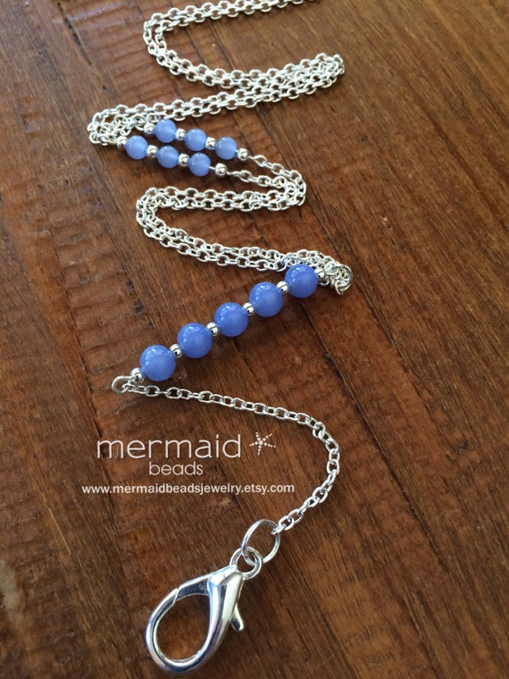 Lanyard Silver ID Badge Holder Coworker Gift under 25 Blue Beaded Silver Chain Clip Nurse Student Teacher Flight Attendant Employee ID Badge