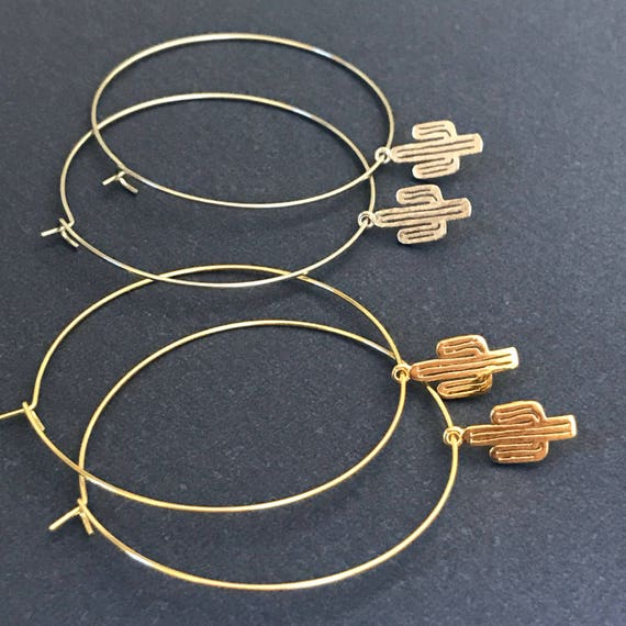 Mothers Day Gift Hoop Earrings Thin Silver Gold Hoop Earring Feather Cactus Charm Boho Pierced Earring Bridesmaids Jewelry Delicate Hoops