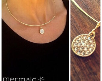 Gold Choker Necklace Diamond CZ Crystal Choker  Gift Bridesmaid Jewelry Bridal Gold Wire Weddings Prom Party Statement Necklace