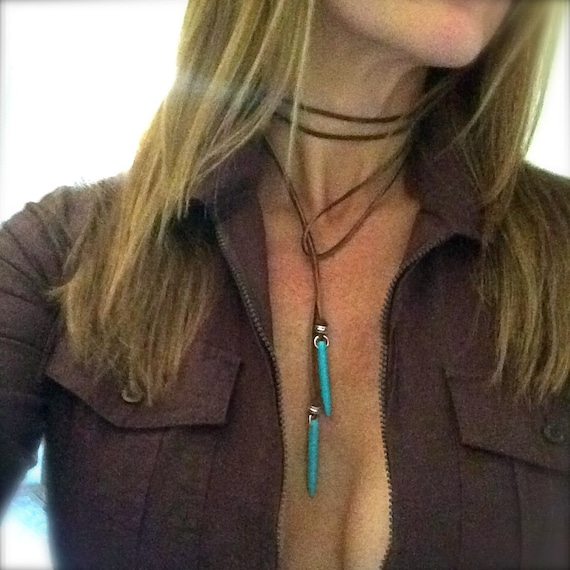 Turquoise Choker Leather Boho Jewelry Sexy Bohemian Necklace Turquoise Choker Jewelry Handmade Vegan Suede Lariat Wrap Tie Festival Gift