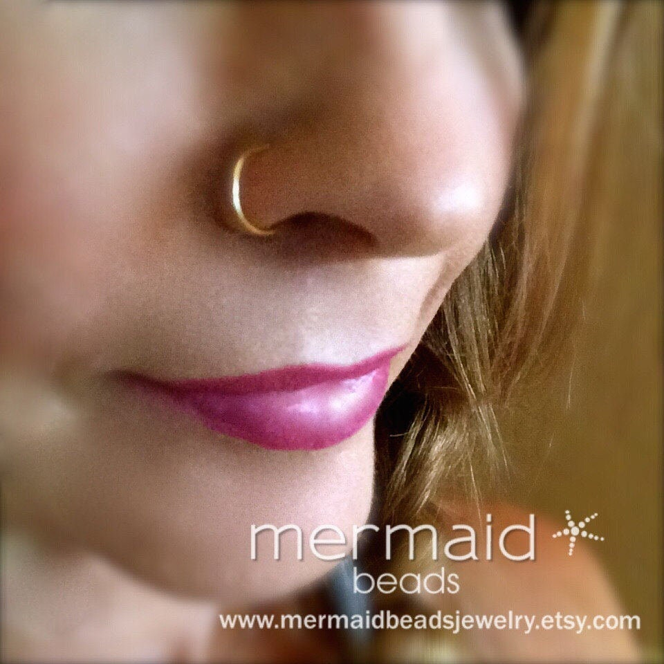 Fake Nose Ring Faux Nose Ring Fake Nose Ring Sterling Silver Gold Rose Gold Fake Nose Hoop Earring Custom Boho Festival Body Jewelry Woman