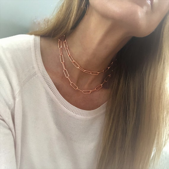 Rose Gold Paperclip Chain Necklace Chunky Gold Chain Bracelet Anklet Gold Silver Rose Gold Large Link Chain Paper Clip Style Chain