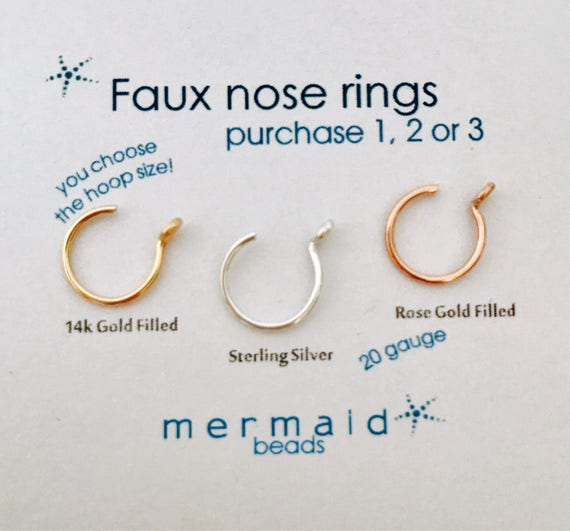 Fake Nose Ring Faux Nose Ring Fake Lip Ring Fake Nose Ring Sterling Silver Gold Rose Gold Custom Boho Festival Body Jewelry Gift Man Woman