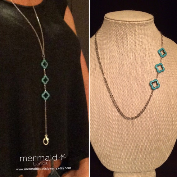 School Supplies Lanyard Turquoise ID Badge Holder Necklace Beaded Chain Clip Keys Inspiration Teacher Gift Student Nurse Coworker Employee