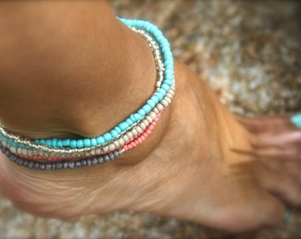 Turquoise Anklet Stack  Beaded Bracelet Turquoise Ankle Bracelet Boho Beach Bracelet Coral Gray Beige Gift Woman Man Summer Jewelry