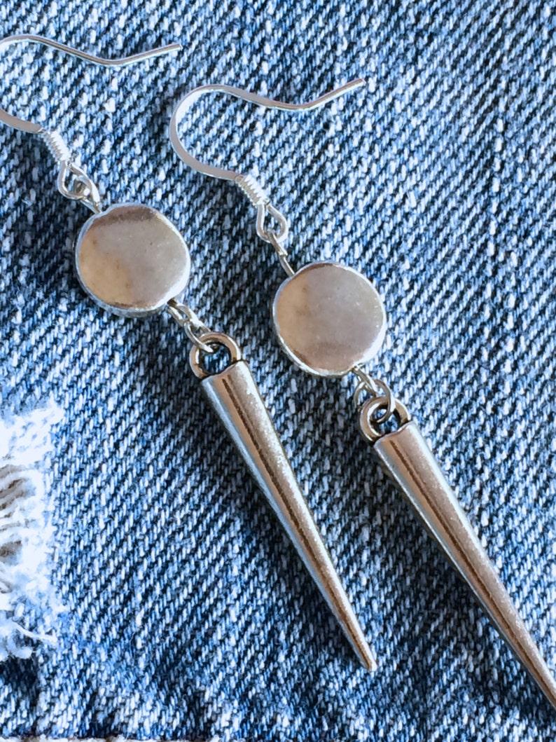 Silver Spike Earrings Boho Gypsy Hippie Silver Disc Earrings image 0