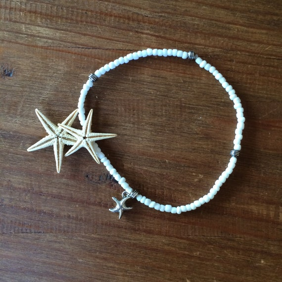 White Beaded Stretch Beach Anklet Starfish Ankle Bracelet Bridal Weddings Hawaii Boho Stack Bracelet Friendship Girlfriend Gift under 20