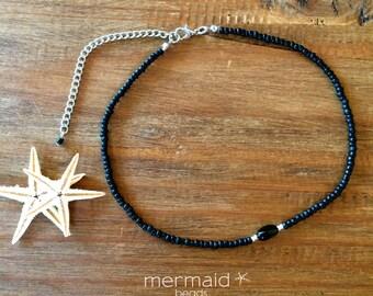 Black Choker Necklace Beaded Black Choker Festival Necklace Silver Boho Jewelry Bridesmaids Gift under 20 Modern Minimalist Summer Jewelry
