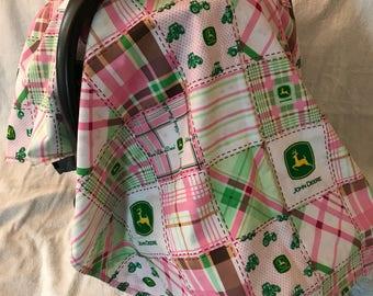Pink John Deere car seat cover