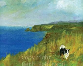 Walking the dog; border collie art card. Beth Robinson Art