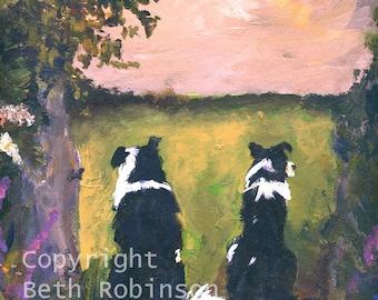 I see no sheep; border collie art card. Beth Robinson Art