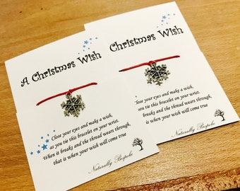 Christmas Wish Bracelet, Friendship Bracelet, Charm Bracelet, Christmas Gift, Secret Santa, Christmas Bracelet, Stocking Filler, Xmas Gift