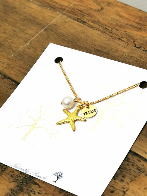 starfish necklace,ocean necklace,bridesmaid gift,beach necklace,unique watercolor wood necklace,birthday gift for mums Australian seller