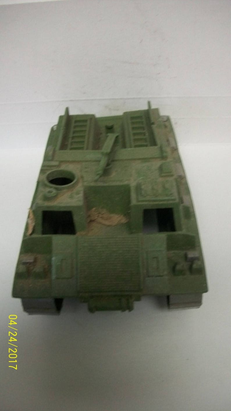 Wheels Roll Broken Axle Very Dirty Vintage Playset Green With Broken Silver Tracks MPC APC Armored Personnel Carrier WWII With Machine Gun