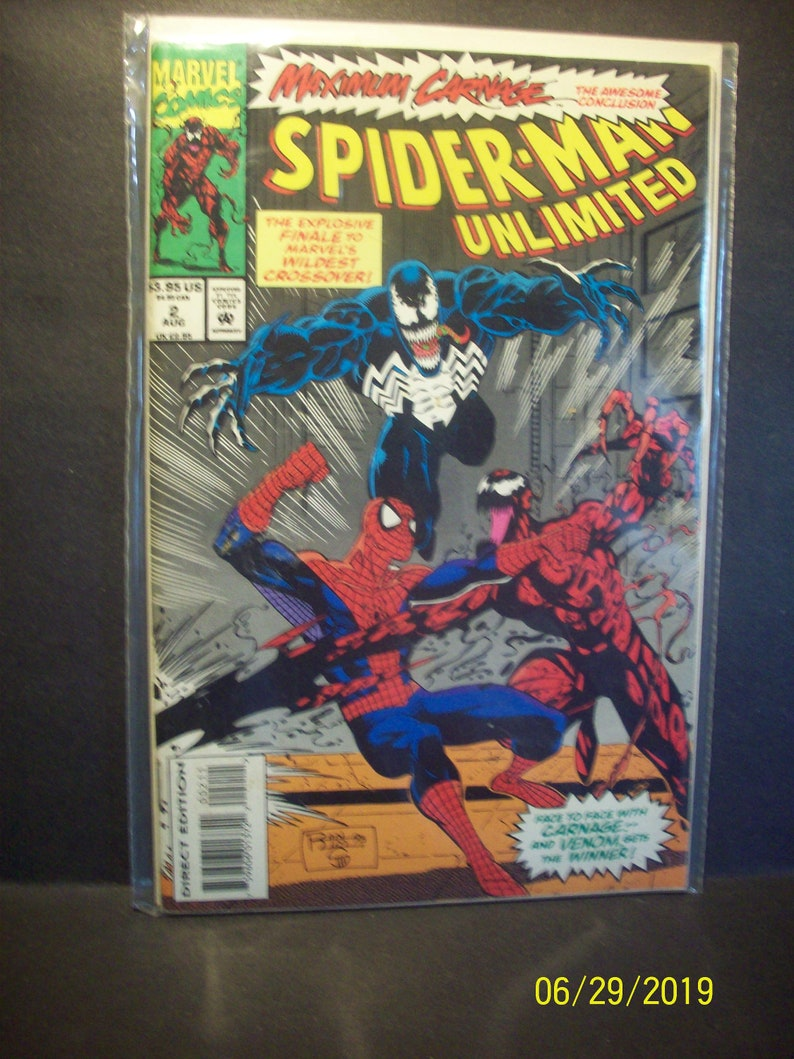 Spiderman Unlimited #2 Maximum Carnage Conclusion Venom and Carnage Good  Cond Lots of Cover Creases Vintage Comic Book 1994 Marvel Comics